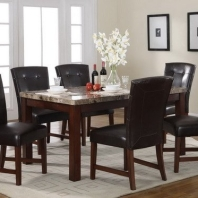 Faux Marble Top Dining Table with Six PVC Parson Chairs